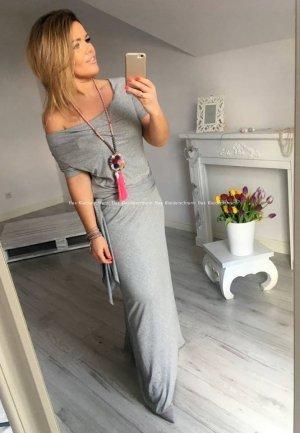 Bodenlanges Maxikleid schulterfrei Sweatkleid Carmen langes Kleid passt bei S-XL