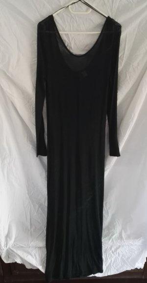 Bodenlanges Strick Kleid Tiefschnitt Langarm durchsichtig hohem Schlitz H&M in Dunkelgrün Gr.M w.38 Neu