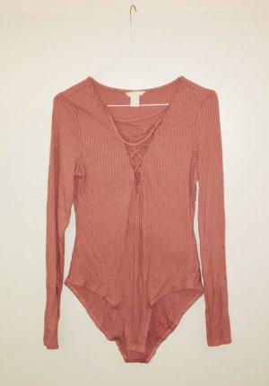H&M Maglia con scollo a V rosa pallido-rosa antico