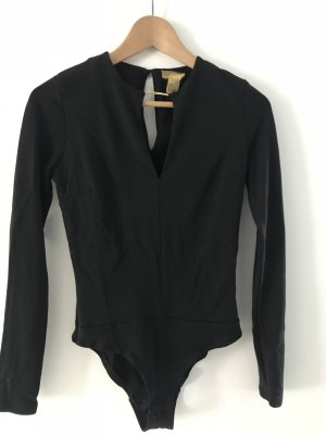 H&M Blusa tipo body negro-color oro