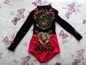 Body schwarz rot Blumen *NEU*