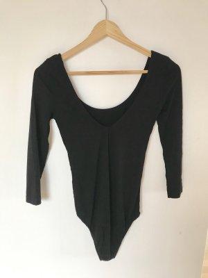 Body Sweatshirt dünn mit dreiviertel Ärmeln und V-Ausschitt hinten in schwarz