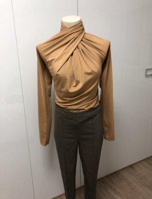 H&M Blusa tipo body marrón claro-beige