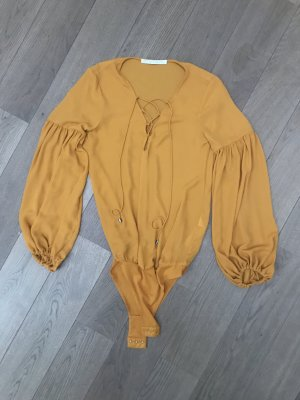 Zara Blusa tipo body naranja dorado