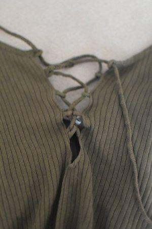 Bershka Tanktop groen-grijs-khaki
