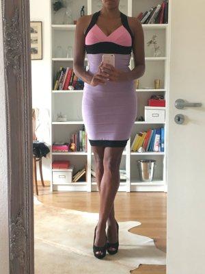 Bodycon Bandage Mini Kleid Strechkleid kurz in lila rosa schwarz Gr. S / 36
