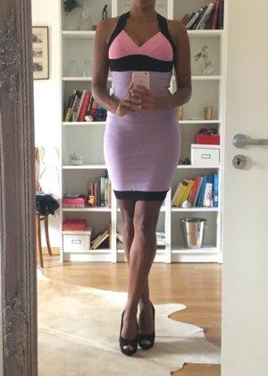 Bodycon Bandage Mini Strech Kleid kurz lila rosa schwarz in Größe S 36