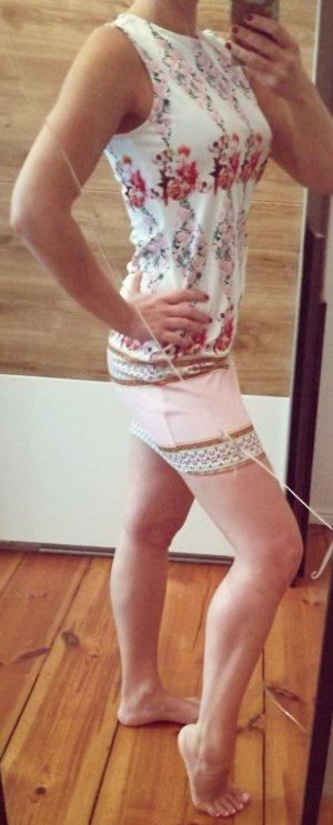 Bodycon Kleid mit Druck weiß rosa M 38