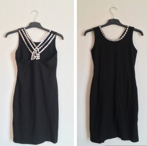 Vestido elástico negro-color plata