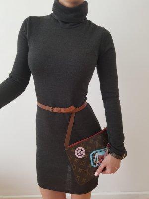 Bodycon Longpullover 32 34 36 XS S grau knit Mini Kleid Longpulli Strickkleid