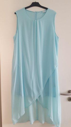 Bodyflirt Chiffon-Kleid, Wickeloptik ohne Ärmel, Vokuhila, polarmint/ eisblau, Gr. 50