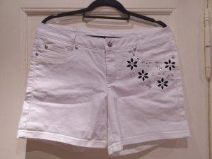 Bodyflirt, Kurze weiße Shorts mit tollen Straß-Applikationen, Größe 42