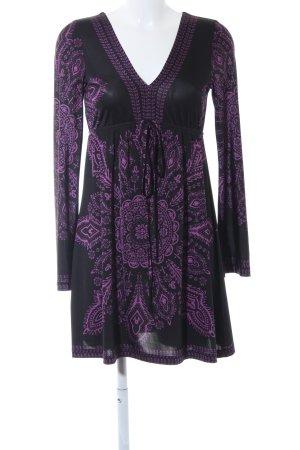 Bodyflirt Jurk met lange mouwen zwart-violet abstract patroon elegant