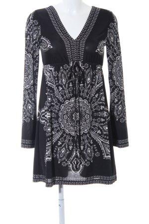 Bodyflirt Jurk met lange mouwen zwart-wit abstract patroon feest stijl