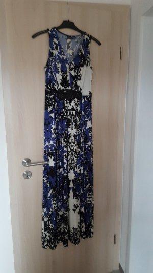Bodyflirt Maxikleid Abendkleid mit Perlen blau schwarz gemustert Größe 32/34 NEU