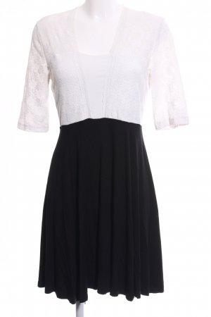 Bodyflirt Spitzenkleid weiß-schwarz Blumenmuster Business-Look