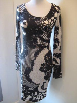 Bodyicon Kleid schwarz weiss Enganliegend Gr.40 Spitzenoptik