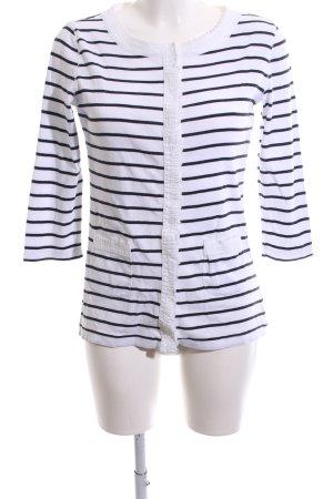Bogner Cardigan weiß-schwarz Streifenmuster Casual-Look