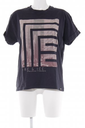 Bogner Fire + Ice T-Shirt dunkelblau-rosa Motivdruck Casual-Look