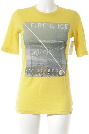 Bogner Fire + Ice T-shirt geel-lichtblauw gedrukte letters casual uitstraling