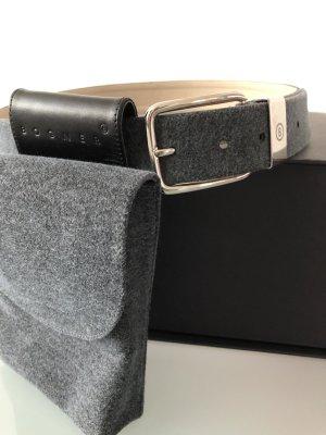 Bogner Cintura di pelle grigio scuro-crema Pelle