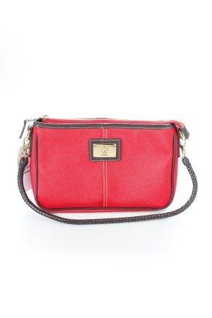 Bogner Handtasche rot-dunkelbraun Logo-Applikation aus Metall