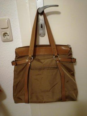 Bogner Handtasche Stoff/Leder - Cognacfarben