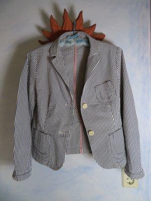 Bogner Jacke Blau Weiß Streifenmuster Baumwoll Blazer Gr. M Sommer Maritime Jacke