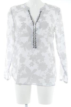 Bogner Jeans Langarm-Bluse wollweiß-hellgrau Blumenmuster Perlenverzierung