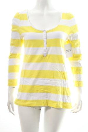Bogner Jeans Longsleeve gelb-weiß Streifenmuster Casual-Look