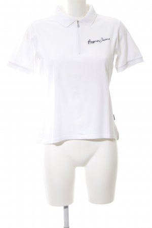 Bogner Jeans Polo Shirt white embroidered lettering casual look