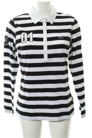 Bogner Jeans Polo-Shirt schwarz-weiß Schriftzug gestickt Casual-Look