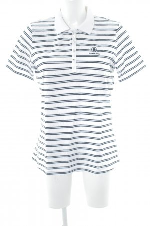 Bogner Jeans Polo-Shirt weiß-dunkelblau Streifenmuster Casual-Look
