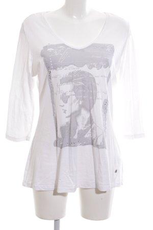 Bogner Jeans V-Ausschnitt-Shirt creme Motivdruck Casual-Look