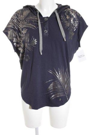 Bogner Kapuzenshirt dunkelblau-silberfarben florales Muster schlichter Stil