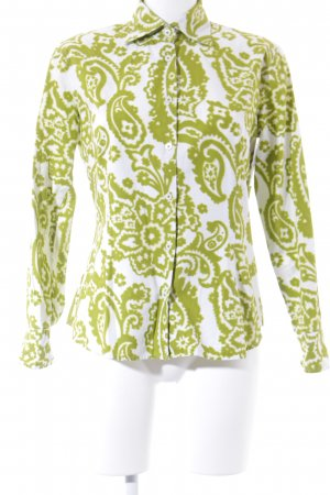 Bogner Langarm-Bluse wiesengrün-weiß abstraktes Muster extravaganter Stil