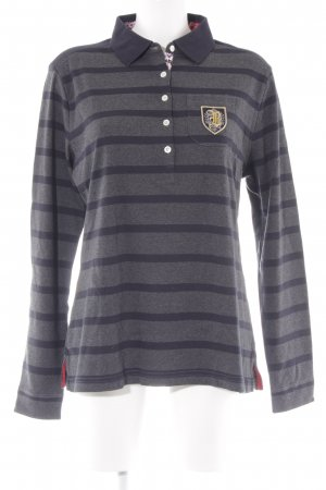 Bogner Camisa de manga larga gris-azul oscuro estampado a rayas Logotipo bordado