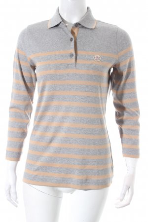 Bogner Polo Shirt light grey-beige striped pattern athletic style