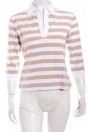 Bogner Polo-Shirt weiß-creme Streifenmuster Casual-Look