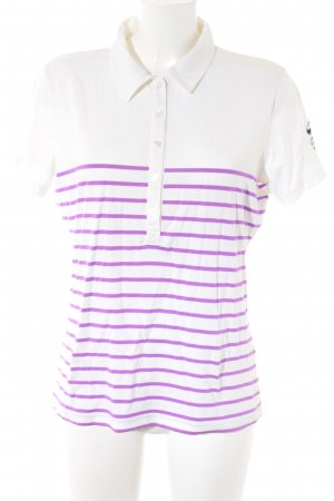 Bogner Polo-Shirt weiß-lila Streifenmuster Casual-Look
