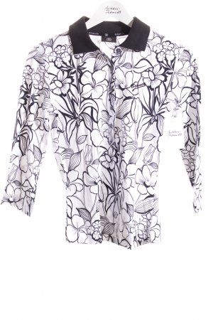 Bogner Polo-Shirt weiß-schwarz florales Muster sportlicher Stil