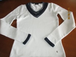 Bogner V-Neck Sweater white-dark blue cotton