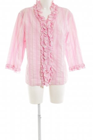 Bogner Ruffled Blouse pink-natural white striped pattern casual look