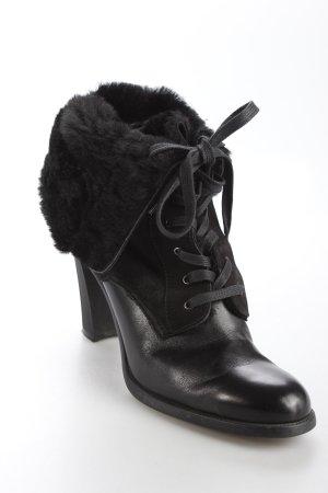 Bogner Schnür-Stiefeletten schwarz Materialmix-Look