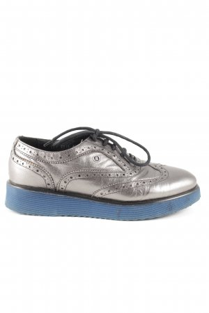 Bogner Lace Shoes silver-colored-blue casual look