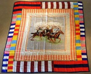 * BOGNER * SEIDEN SCHULTER / HALS TUCH 132 x 132  Renn Pferde bunt Stola Schal