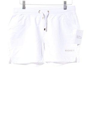 Bogner Shorts weiß-goldfarben Schriftzug gedruckt sportlicher Stil
