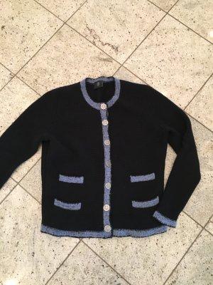 Bogner Gebreide cardigan donkerblauw-korenblauw Scheerwol
