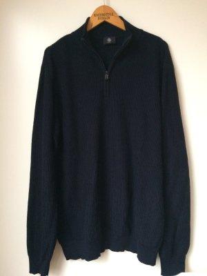 Bogner Strickpullover Blau Oversize Cosy Wolle Baumwolle Fisherman Rippstrick Matrose Sweater