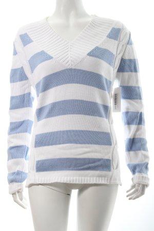 Bogner Strickpullover weiß-himmelblau Streifenmuster Casual-Look